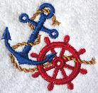 Thumbnail of Classic Anchor and ship's wheel towel, Nautical towel, Nautical decor