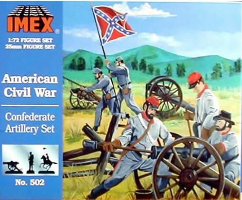Imex 1/72nd ACW Confederate Artillery Plastic Figures Set No. 502