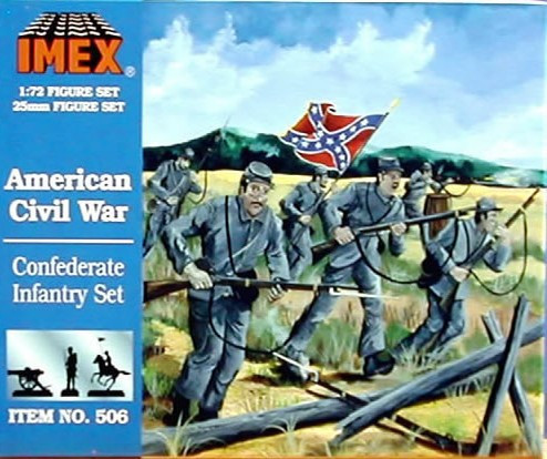 Imex 1/72nd ACW Confederate Infantry Plastic Figures Set no. 506