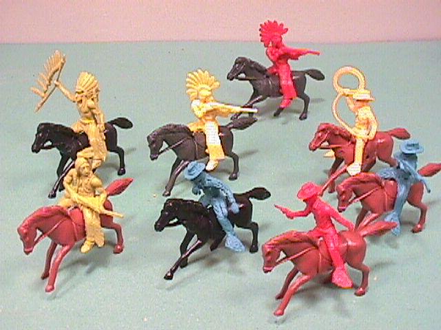 Western Plastic Cowboys & Indians Riding Figures Set 42003