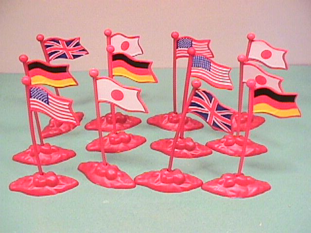 Set Of 12 Assorted Plastic Flags And Bases