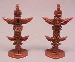 Pair of Plastic Western Indian Totem Poles