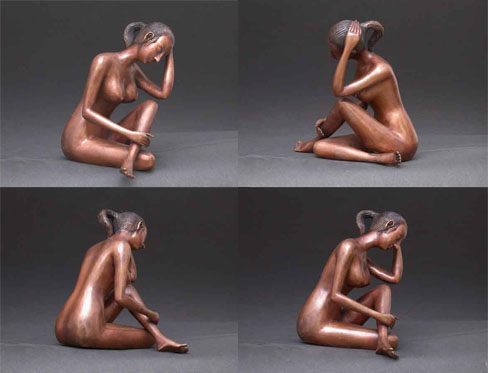 Sad Lady Female Bronze Sculpture