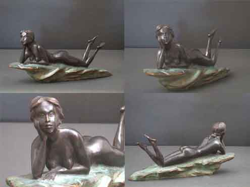 Woman On The Rocks Female Bronze Sculpture