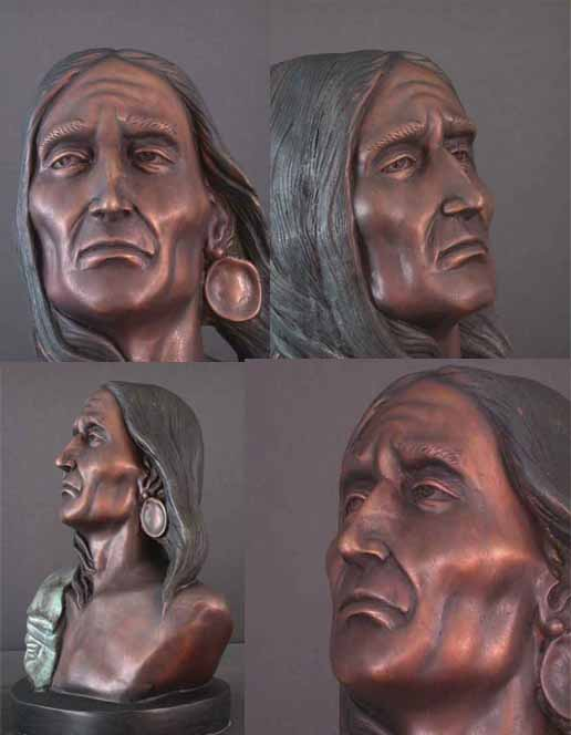 Native American Indian w/ Earring Bronze Bust Sculpture