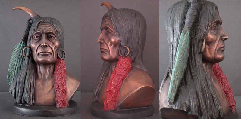 Native American Indian w/ Green & Red Feathers Bronze Bust Sculpture