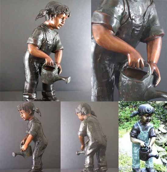 The Watering Can Child Solid Bronze Fountain Sculpture