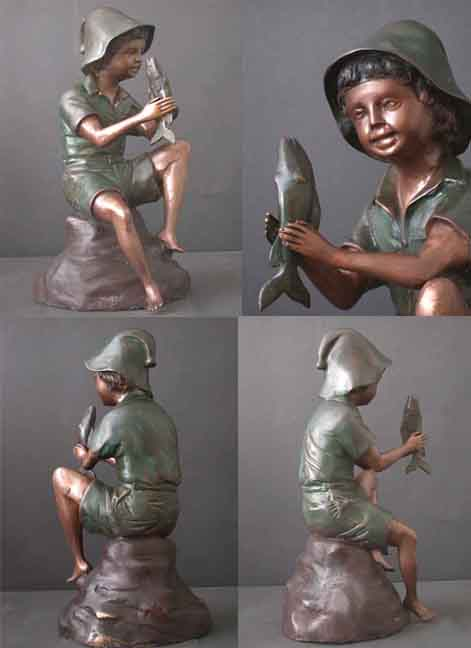 Bronze Fountain Young Boy With Fish Garden Art