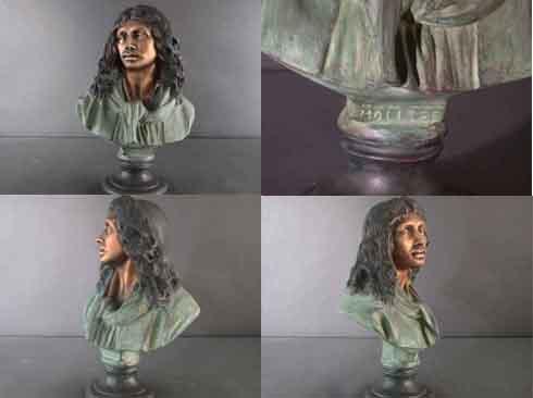 Bronze Bust Sculpture Statue Figurine Moliere French Dramatist