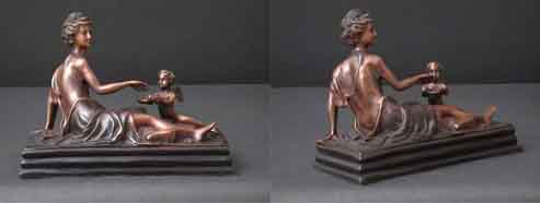 Lady with Cherub Bronze Sculpture