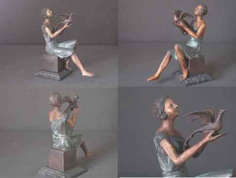 Image 0 of Bronze Sculpture Female With Bird Deco Figurine w/ Marble Base