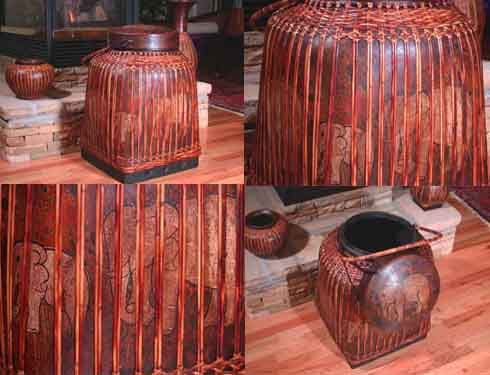 24 Lacquered Rice Basket Thai Folk Art