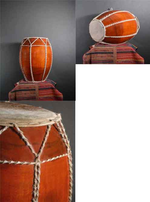Image 0 of Rare Tribal Drum From Golden Triangle / Gut & Wood