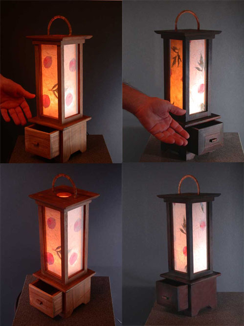 Teakwood Lamp with Sa Paper Shade Thai Crafts