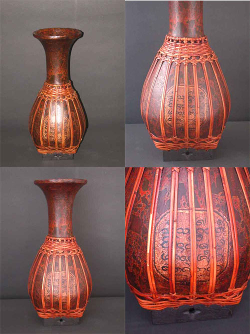 Image 0 of Wicker Vase Laquered and Hand Painted Basket