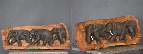 Wooden Log Carved With Three Elephants