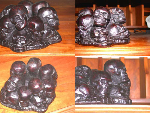 Image 0 of 13 Skulls Resin Ashtray Cambodia Killing Fields