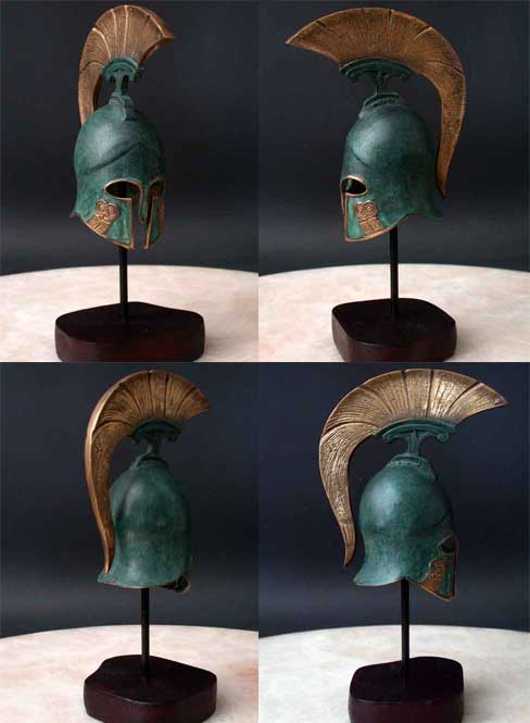 Image 0 of Bronze Sculpture Art Helmet Roman / Greek Gladiator