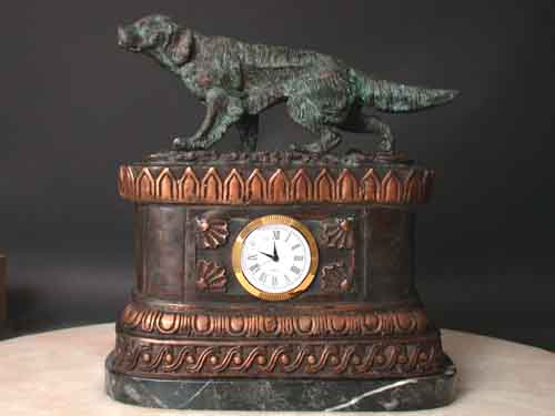 Bronze Clock Pointer Setter Hunting Dog Sculpture w/ Marble Base