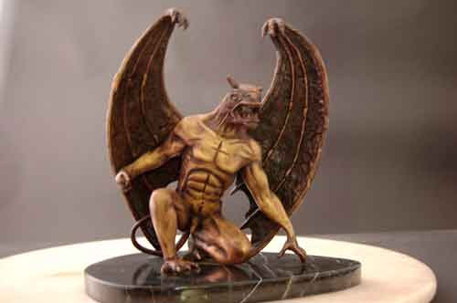 Winged Demon Bronze Male Creature on Marble Base