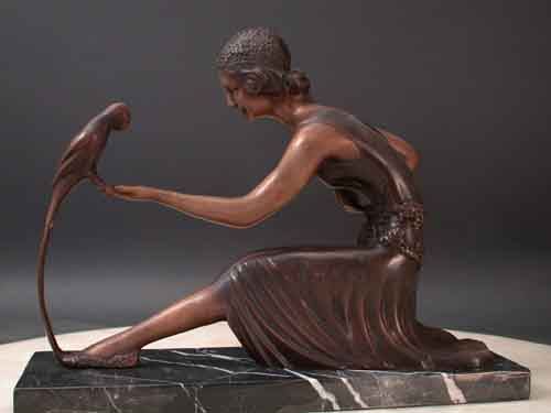Bronze Sculpture Deco Girl w/ Parrot by Chiparus 12