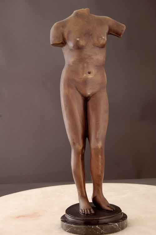 Bronze Female Figure Classical Pose Sculpture Art