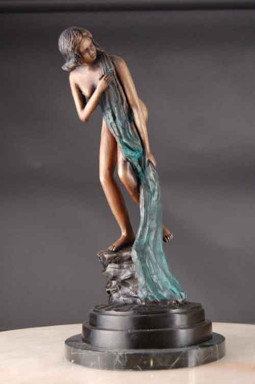 Bronze Female Modest Contemporary Art Sculpture
