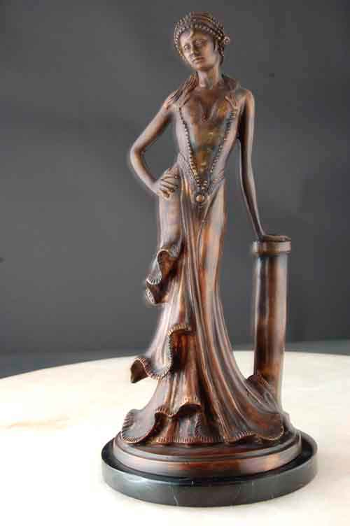 Image 0 of Lady Leaning on Pedestal - Bronze Art Deco Nouveau Sculpture