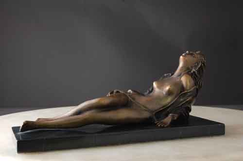 Bronze Female Reclining on Marble Base