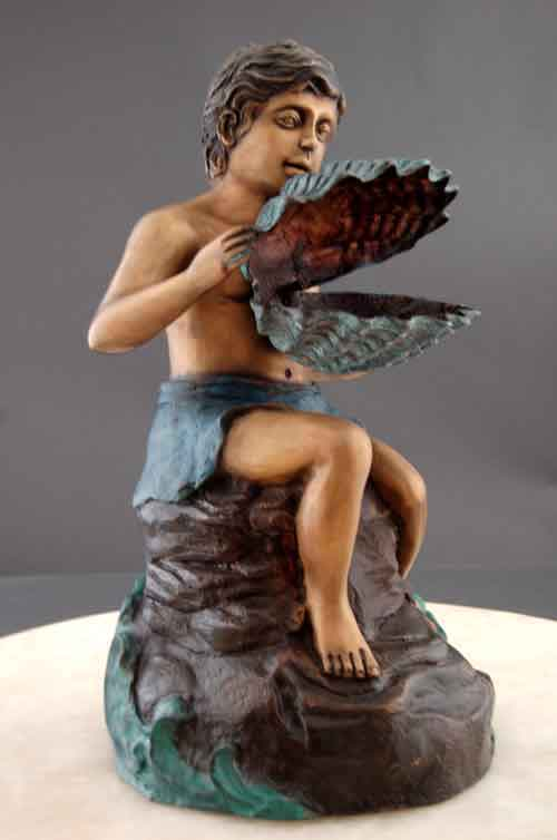 Bronze Fountain Boy with Clam Shell Art Sculpture