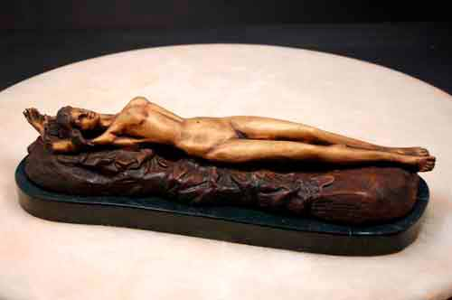 Bronze Female Reclining on Rock w/ Marble Base, Signed
