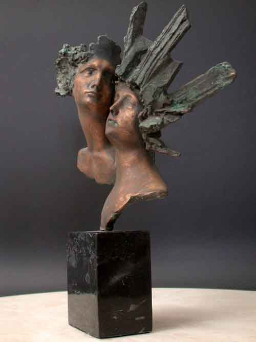 Bronze Bust Sculpture w/ Marble Base Male & Female Mask
