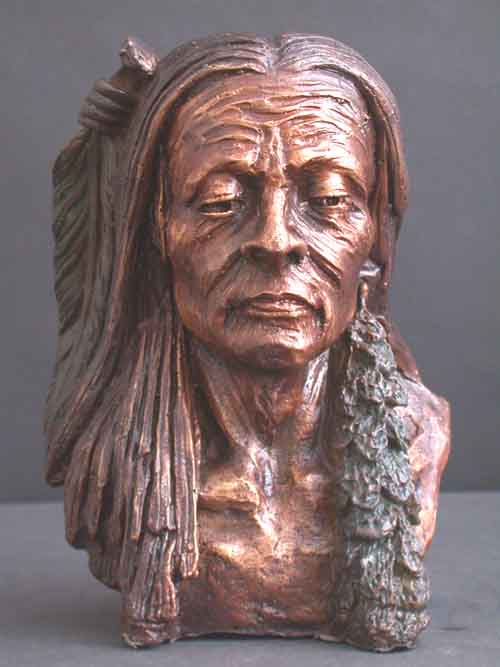 Bronze Bust American Indian Sculpture Western Art