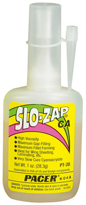 Pacer #PT-20 SLO-ZAP CA Thick Super Glue - 1 oz bottle