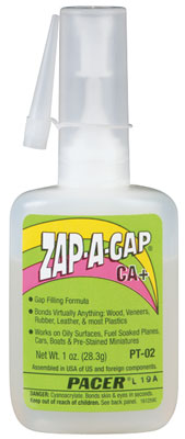Pacer PT-02 ZAP-A-GAP CA+ Super Glue - 1 oz bottle