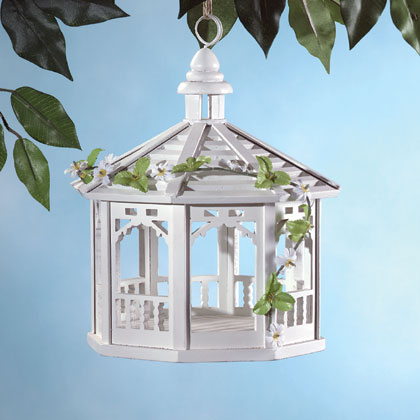 White Gazebo Bird Feeder Wood