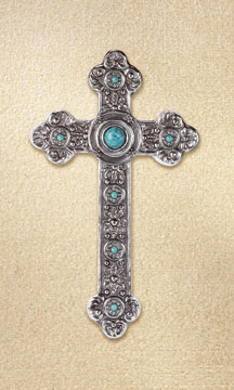 Image 0 of Spanish Style Silver & Turquoise Wall Cross