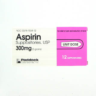 Image 0 of Aspirin 300 mg Suppositories Unit Dsoe 12