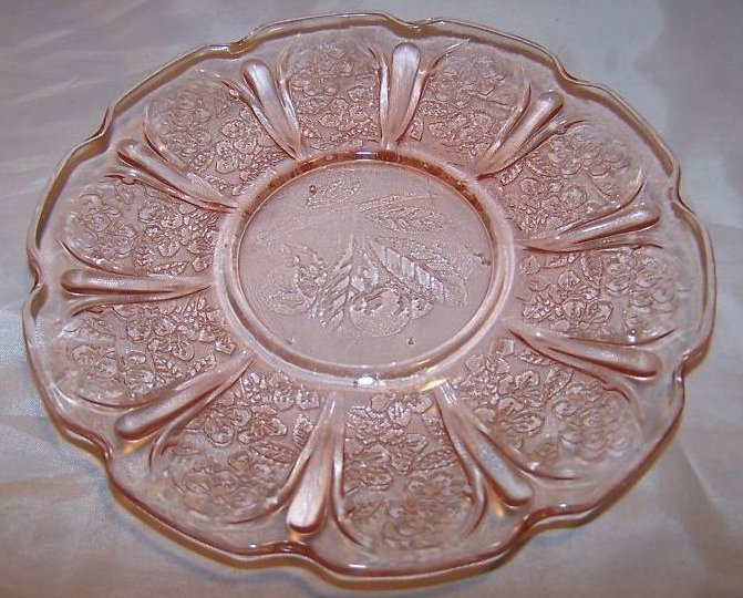 Pink Glass Plate or Saucer, Cherry Design, Scalloped Edge