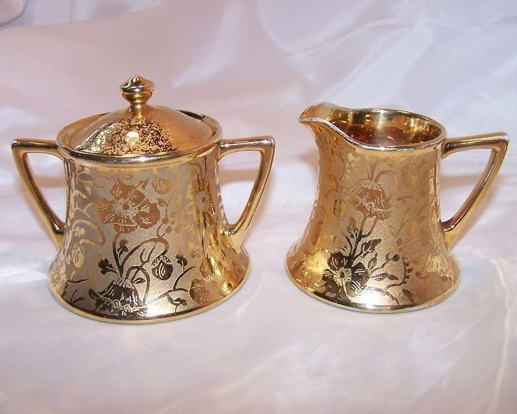 Image 0 of Gold Creamer and Sugar Bowl, Gorgeous, Vintage, Stouffer