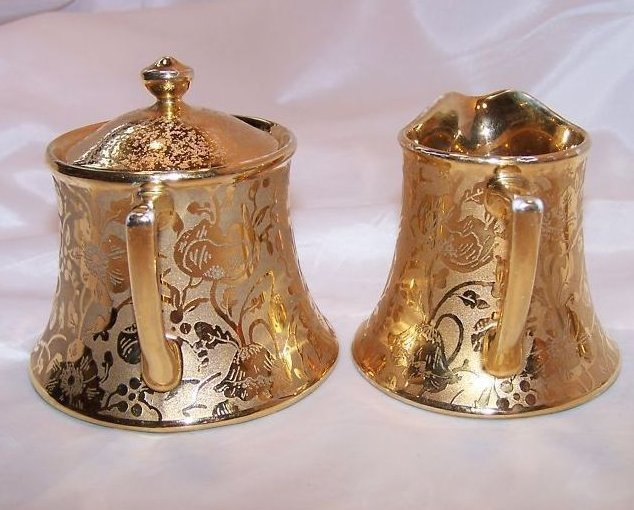 Image 1 of Gold Creamer and Sugar Bowl, Gorgeous, Vintage, Stouffer