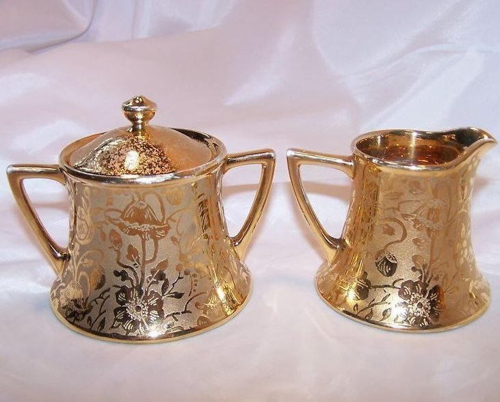 Image 2 of Gold Creamer and Sugar Bowl, Gorgeous, Vintage, Stouffer