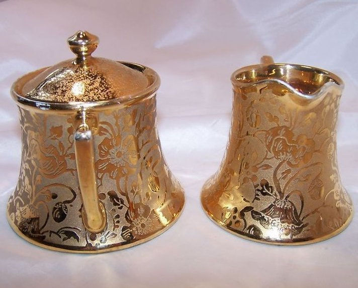 Image 3 of Gold Creamer and Sugar Bowl, Gorgeous, Vintage, Stouffer