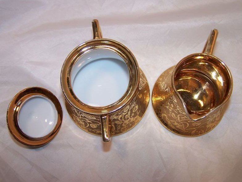 Image 4 of Gold Creamer and Sugar Bowl, Gorgeous, Vintage, Stouffer