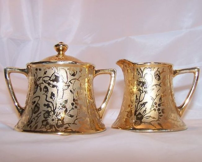Image 5 of Gold Creamer and Sugar Bowl, Gorgeous, Vintage, Stouffer