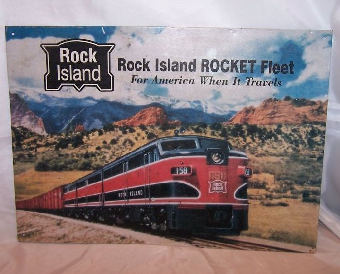 Rock Island Rocket Fleet Train Tin Sign, Reproduction