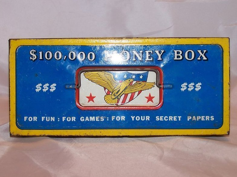 $100,000 Money Box Toy Tin Box, The Ohio Art Co.