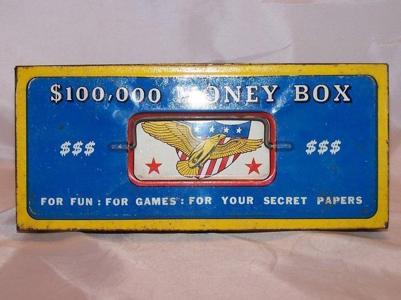 $100,000 Money Box Toy Tin Box, The Ohio Art Co.