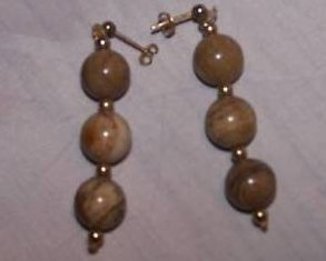 Agate Earrings, Brown and White Marbled, Dangle, New