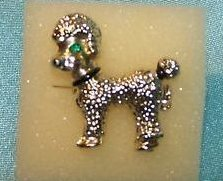 Poodle Pin, Brooch with Green Rhinestone Eyes